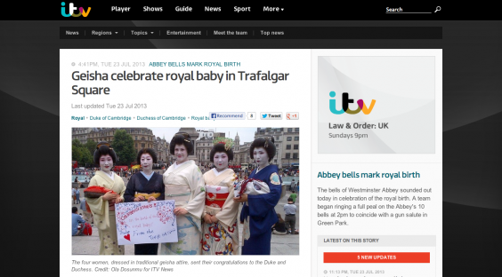 Geisha celebrate royal baby in Trafalgar Square